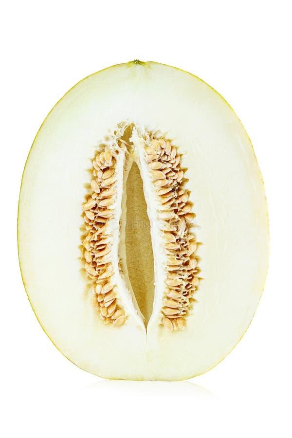 mel?n verde del cantalupo aislado en blanco imágenes de archivo libres de regalías
