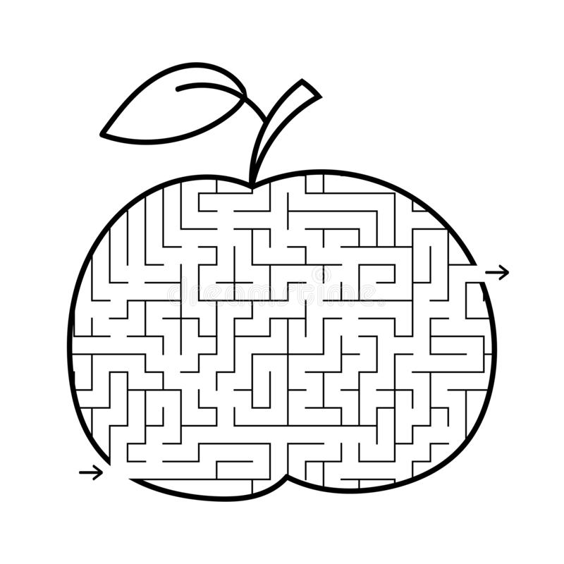 Mela del labirinto Gioco per i bambini Puzzle per i bambini Stile del fumetto Enigma del labirinto Illustrazione bianca nera di v illustrazione vettoriale
