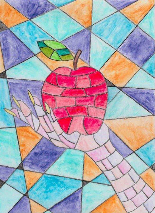 Mela del mosaico nella mano illustrazione di stock