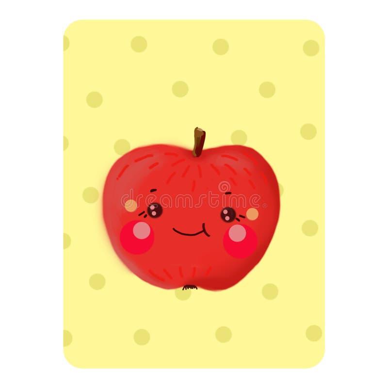 Mela di Kavai Apple su un fondo giallo con i cerchi con immagini stock