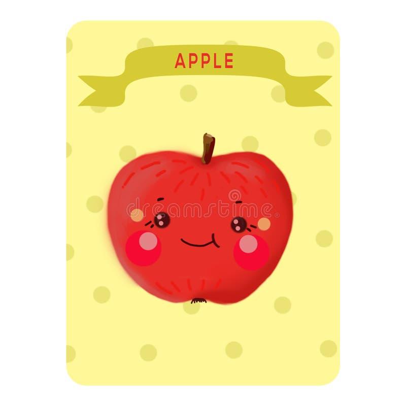 Mela di Kavai Carta da gioco Carta benvenuta Illustrazione Apple su un fondo giallo con i cerchi con il nome fotografia stock libera da diritti