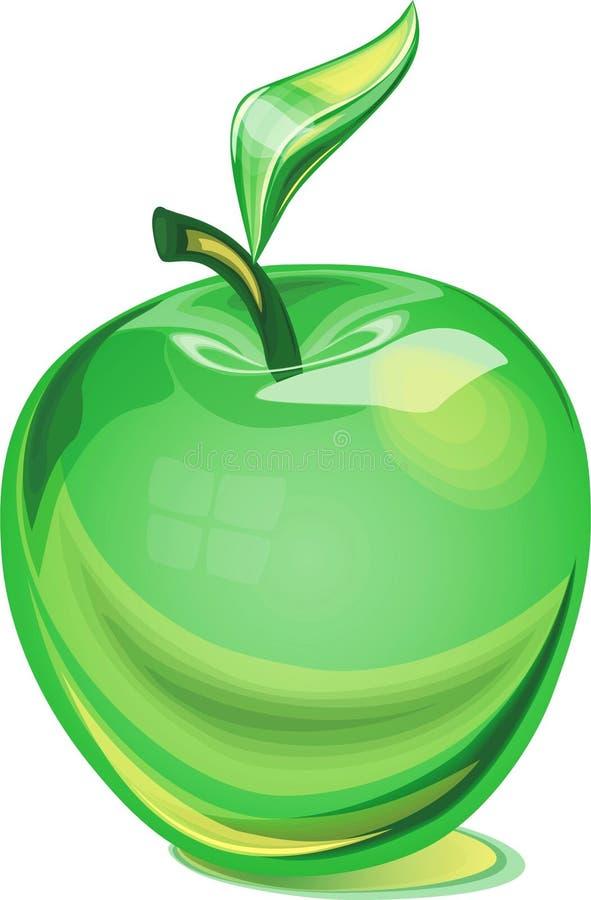 Mela di vetro verde immagine stock