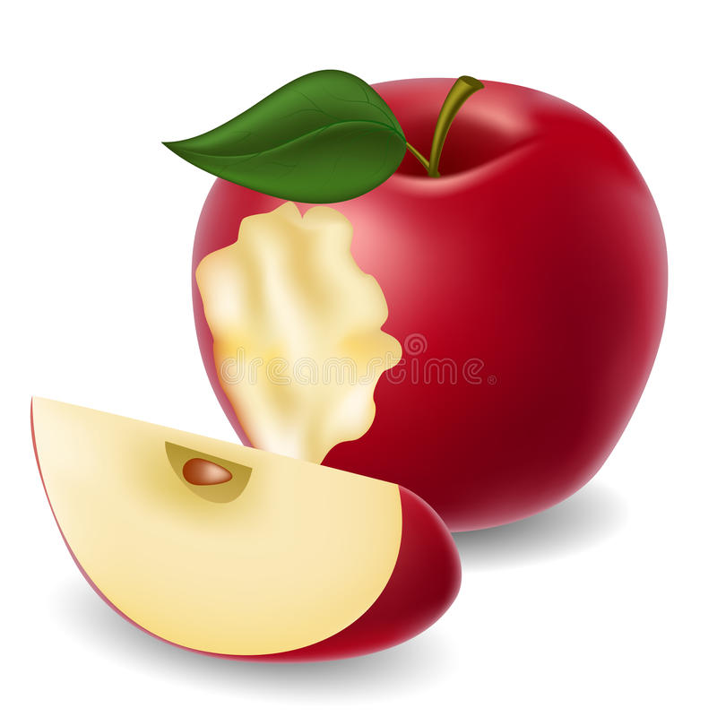 Mela e fetta pungenti della mela royalty illustrazione gratis
