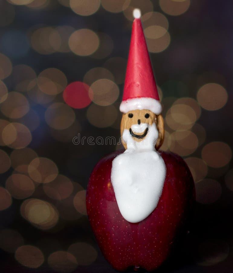 Mela fatta a mano Santa Claus Christmas Ornament fotografie stock libere da diritti