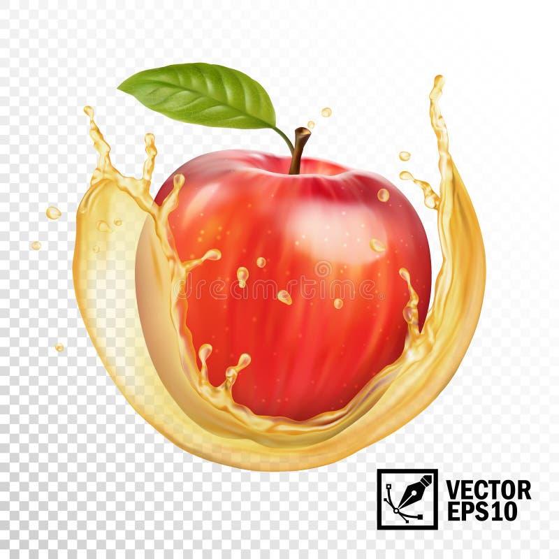 mela realistica di vettore 3D in una spruzzata trasparente di succo Maglia fatta a mano editabile royalty illustrazione gratis