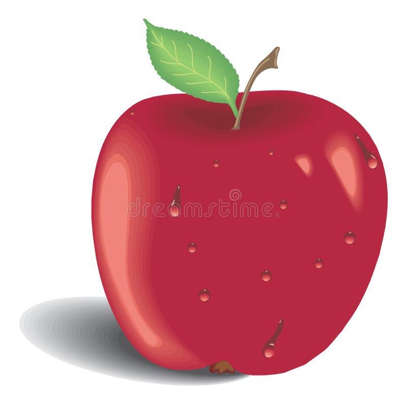 Mela rossa con il foglio verde royalty illustrazione gratis