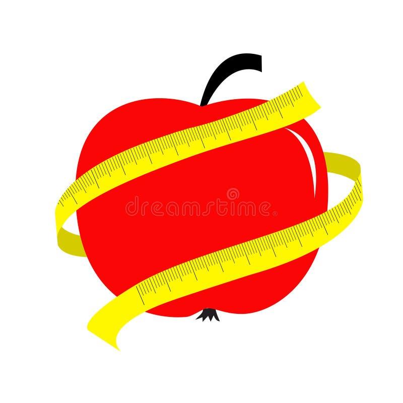 Mela rossa con il righello di misurazione giallo del nastro. Carta di concetto di dieta. illustrazione di stock
