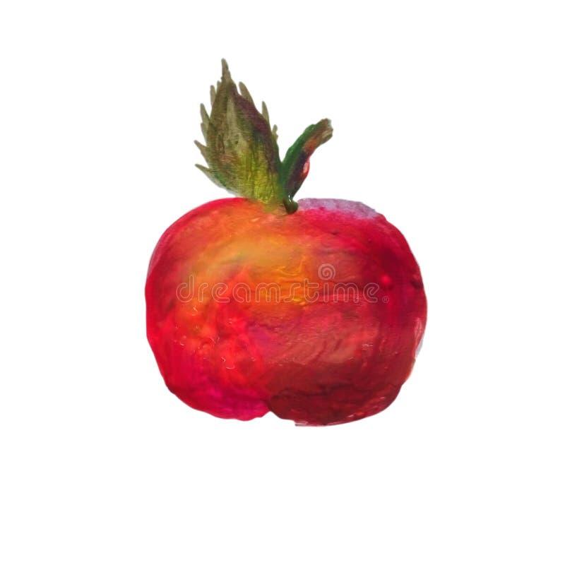 Mela rossa dipinta dell'acquerello sullo strato, isolato su bianco immagine stock libera da diritti