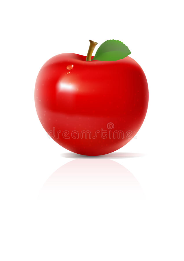 Mela rossa su priorità bassa bianca royalty illustrazione gratis