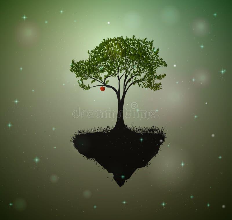 Mela rossa sull'albero leggiadramente, albero nel paese delle fate circondato con le lucciole, illustrazione di stock