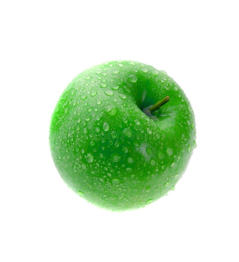 Mela verde bagnata isolata su bianco fotografie stock libere da diritti