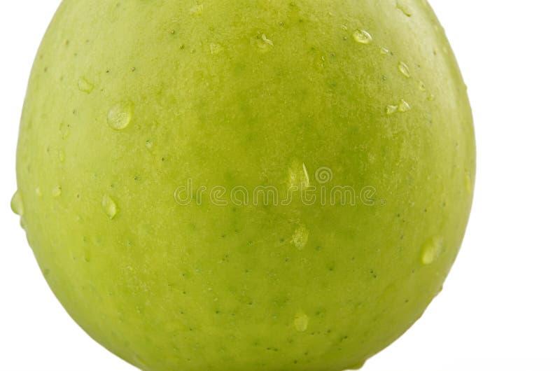Mela verde con le gocce di pioggia immagine stock libera da diritti