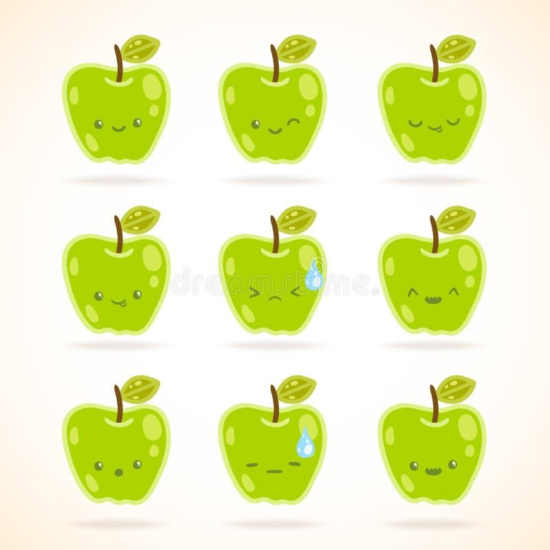 Mela verde con molte espressioni illustrazione di stock