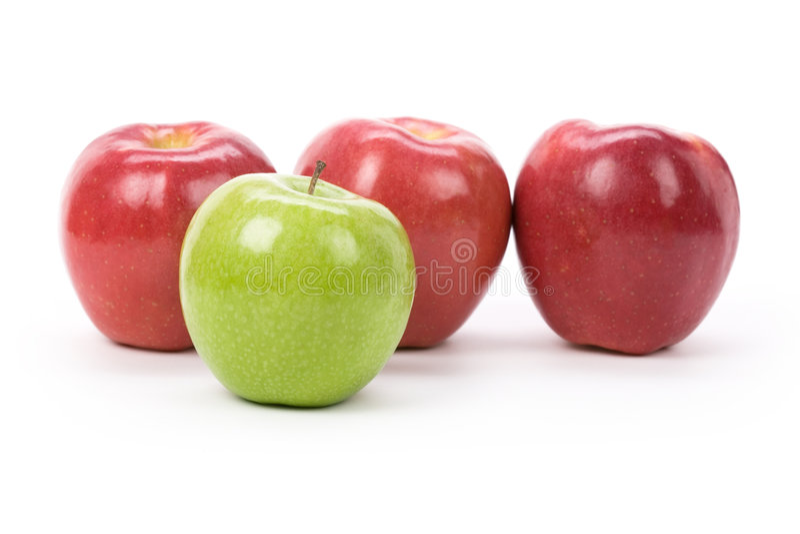 Mela verde di colore rosso del Apple fotografie stock