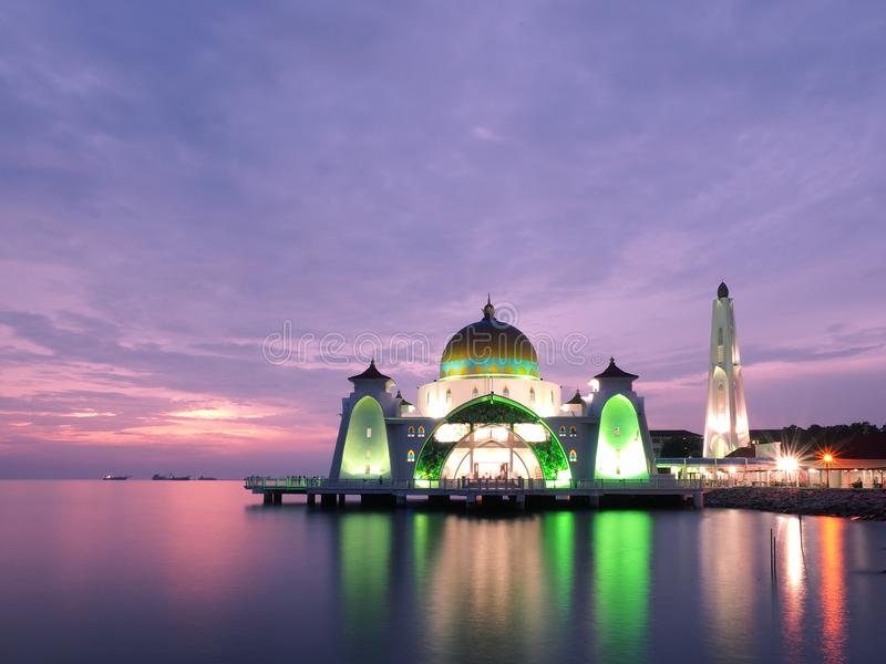Melaka海峡清真寺 库存照片