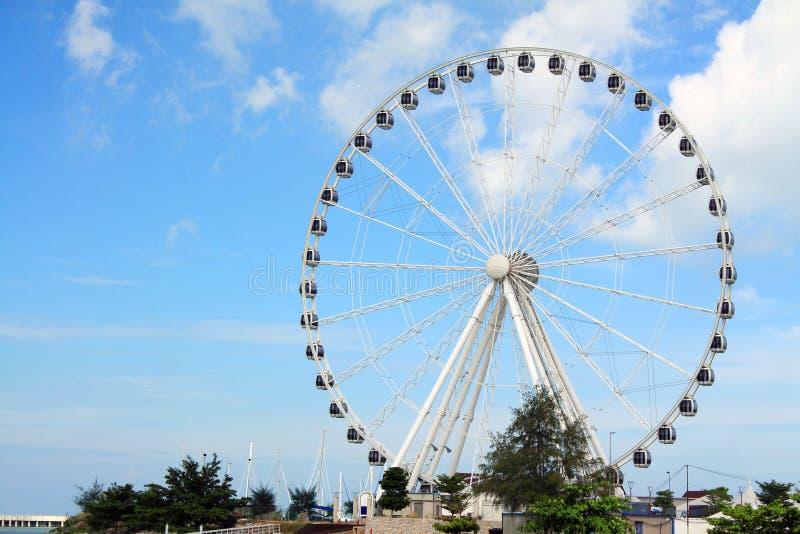 "Melaka Ferris Wheel At Seaside. ""Eye Of Malaysia"" Ferris Wheel In Melaka City, UNESCO World Heritage Site royalty free stock photography"