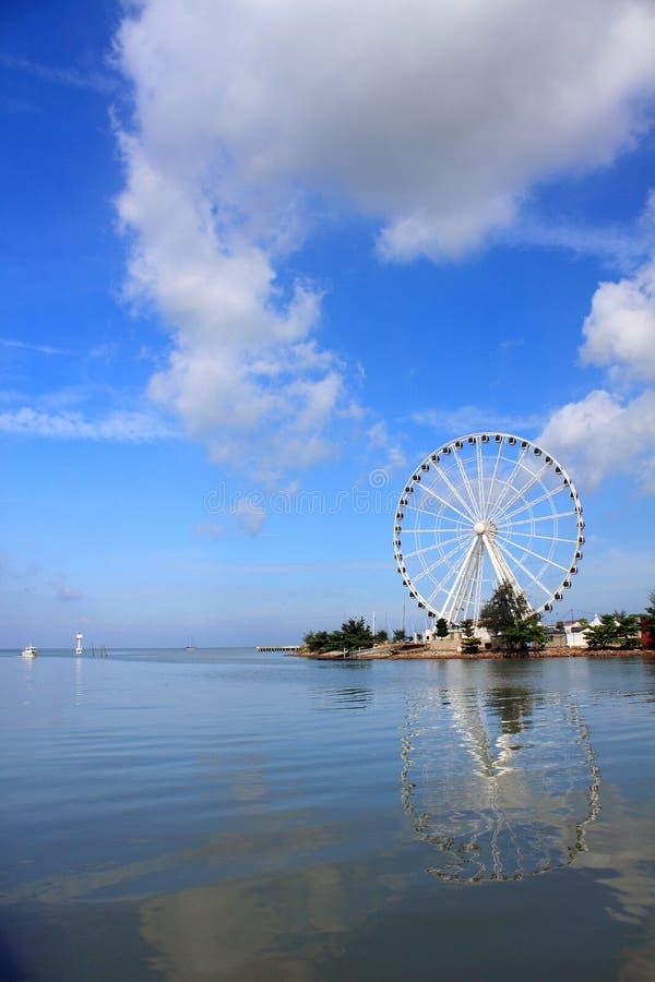 "Melaka Ferris Wheel At Seaside. ""Eye Of Malaysia"" Ferris Wheel In Melaka City, UNESCO World Heritage Site stock photo"