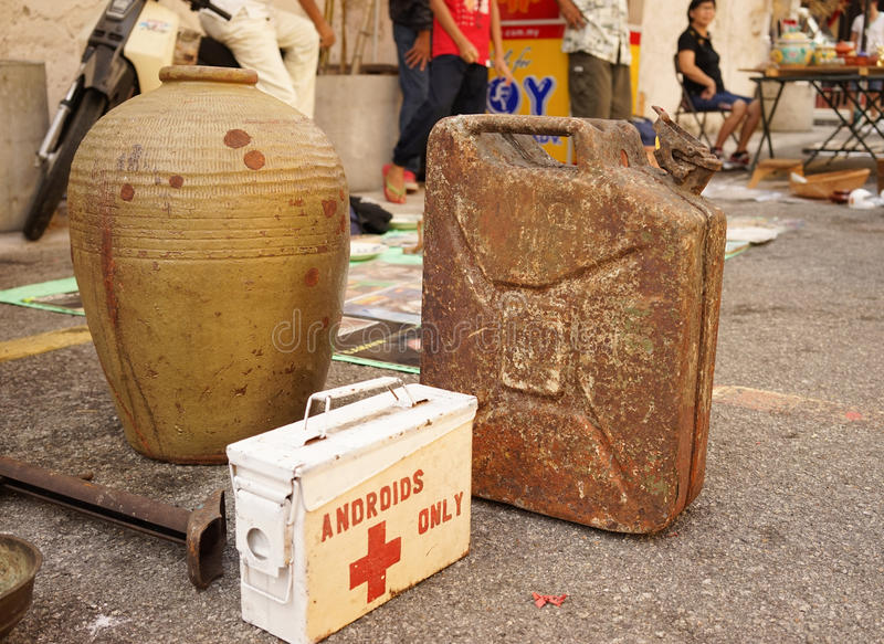 Selling antique at street market in Chinatown stock photo