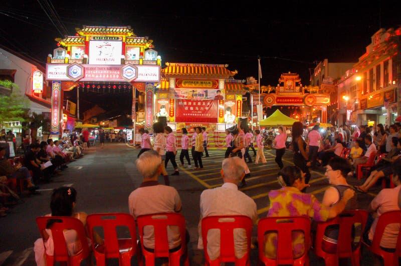 Melaka, Malaysia - November 21 : view of people pass by at night walking street in the city of Melaka, Malaysia. November 21, stock photography