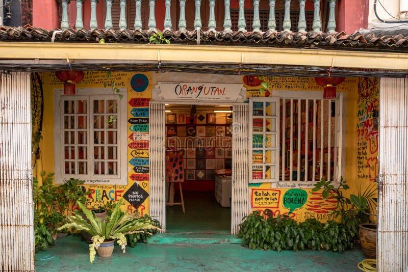Melaka Malezja, Grudzień, - 2018: Orangutan dom, galeria sztuki i koszulka, robimy zakupy w starym Melaka Malacca aka mieście fotografia stock