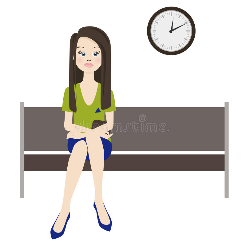 Melancholiczny kobiety czekanie royalty ilustracja