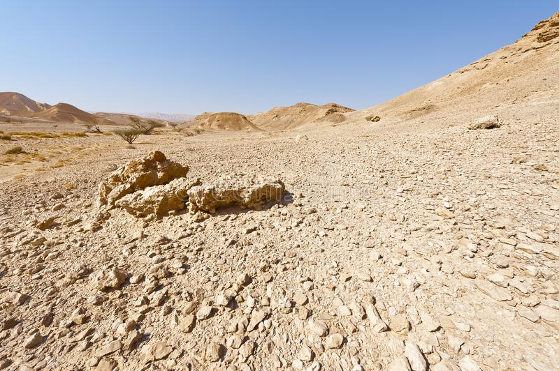 Melancholy and emptiness of the desert in Israel stock images