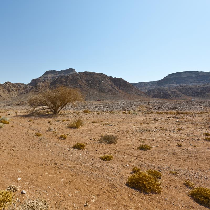 Melancholy and emptiness of the desert in Israel stock image