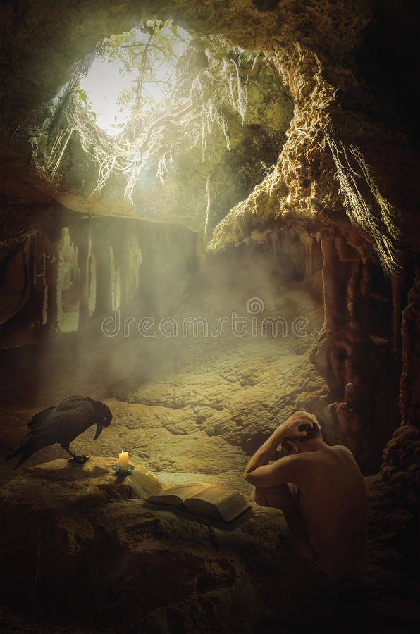Melancholy. In search of truth. A man in a deplorable state of mind in a cave vector illustration