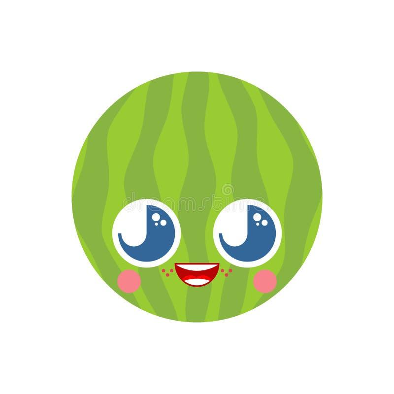 A melancia bonito do kawaii isolou-se estilo engraçado dos desenhos animados do melão car?ter das crian?as O estilo das crian?as ilustração stock