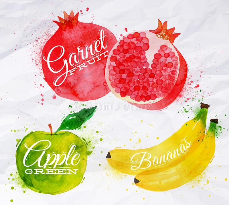 Melancia da aquarela do fruto, banana, romã, ilustração stock