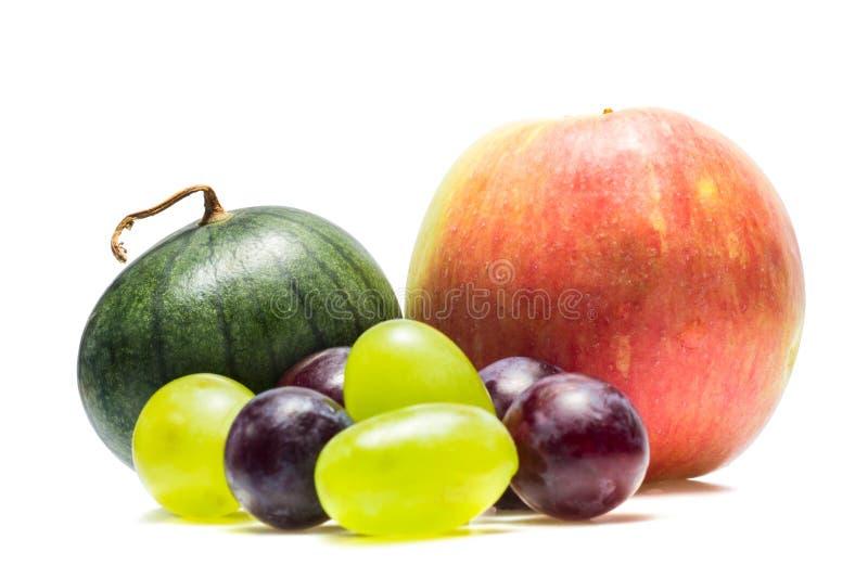 Melancia de Apple e uvas de variedades diferentes imagens de stock royalty free