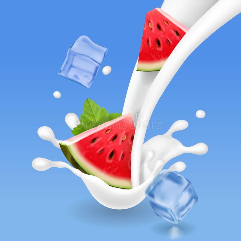 Melancia no respingo do leite Milk shake com os cubos da melancia e de gelo ilustração stock