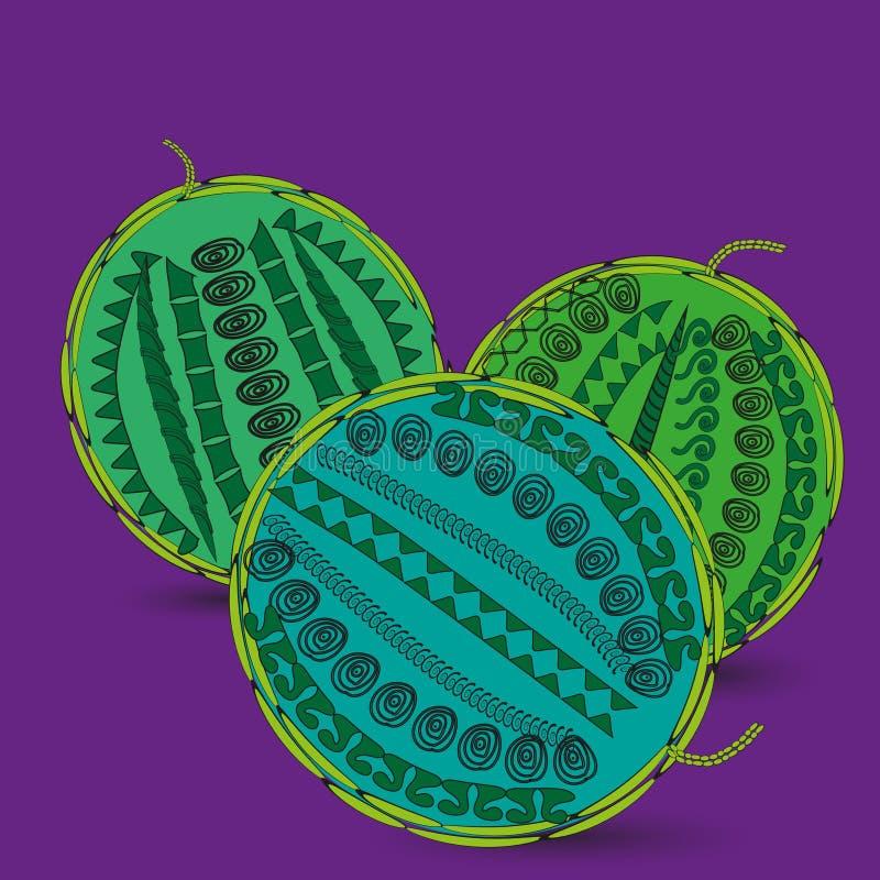 Melancia verde da abstração três do desenho ilustração royalty free