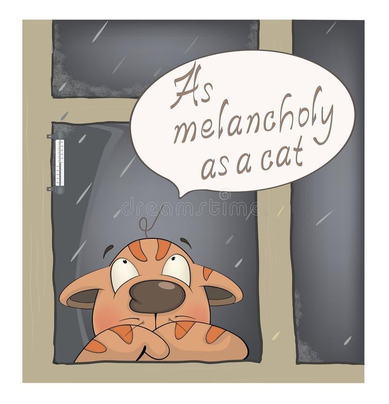 A melancolia dos desenhos animados do gato ilustração stock
