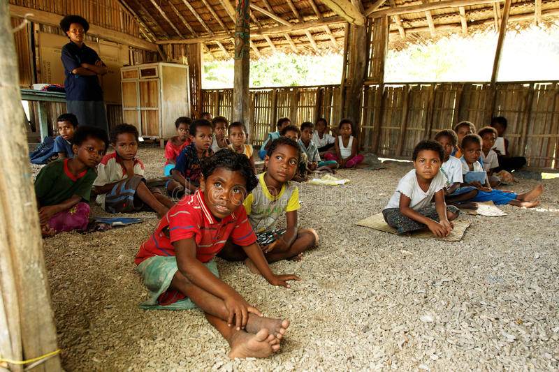 Melanesian People / School in Papua New Guinea. The indigenous population of Papua New Guinea is one of the most heterogeneous in the world. Papua New Guinea has royalty free stock image