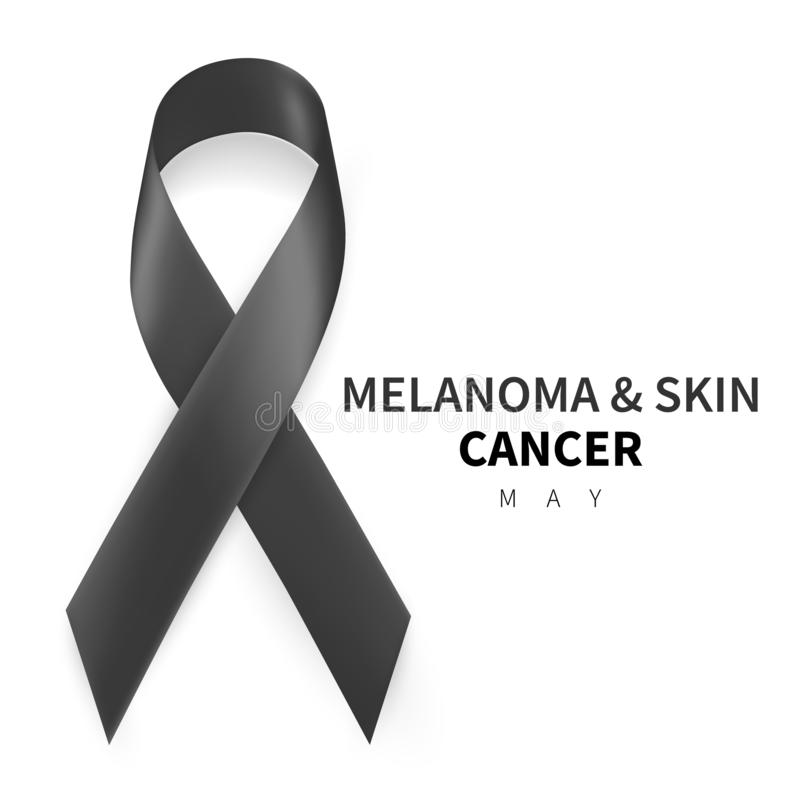 Melanoma and Skin Cancer Awareness Month. Realistic Black ribbon symbol. Medical Design. Vector illustration.  royalty free illustration