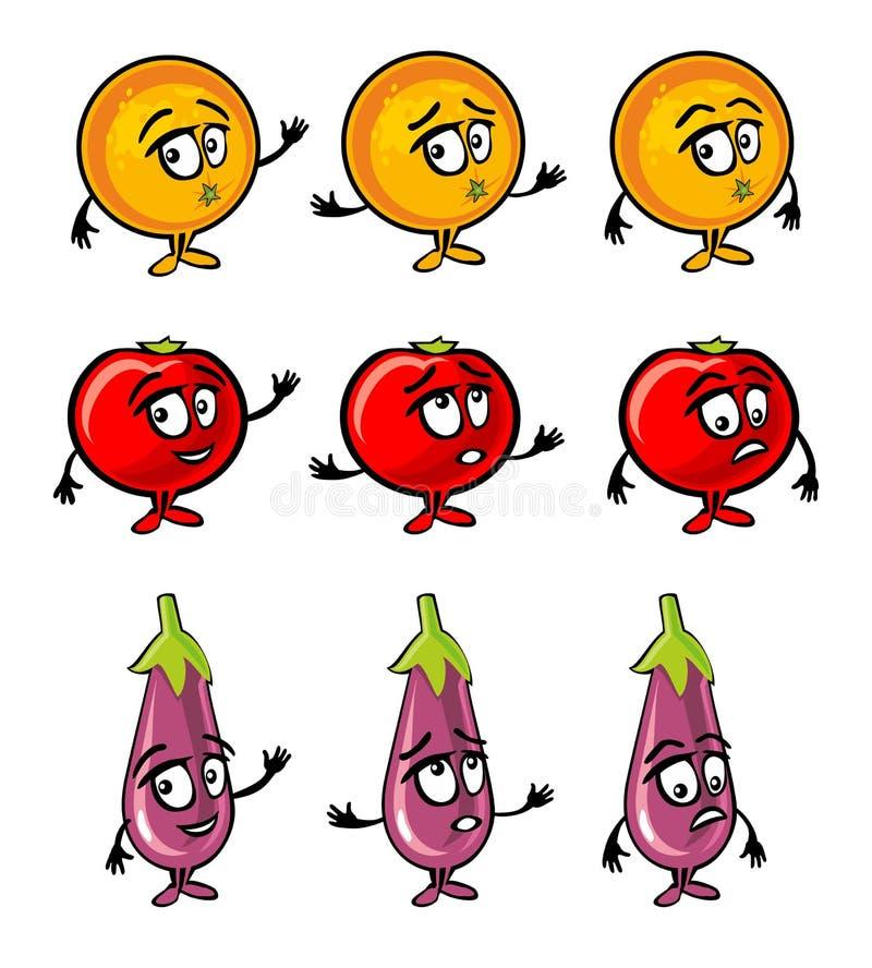 Melanzana, pomodoro, sorrisi arancio del fumetto, sorpresi e tristi illustrazione di stock
