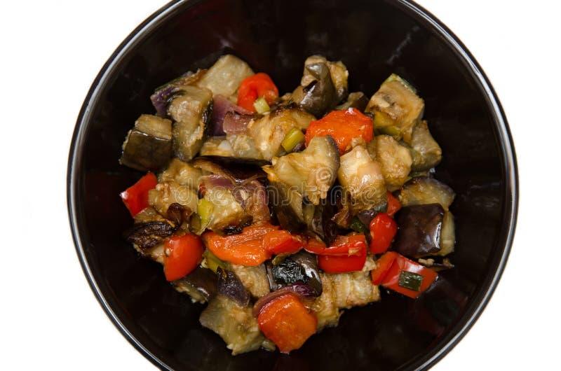 Melanzane e pepe con il sause dell'aglio, della cipolla e della soia, ricetta cinese fotografia stock