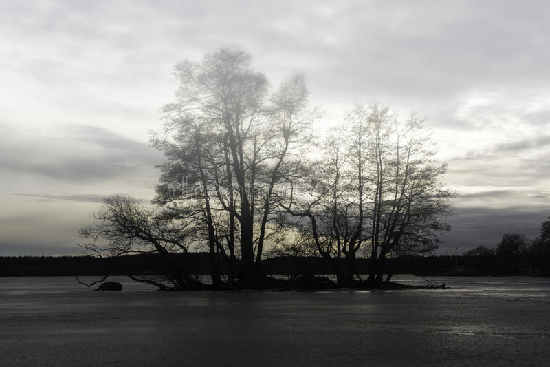 Melar Lake Frozen dans Sigtuna photographie stock libre de droits