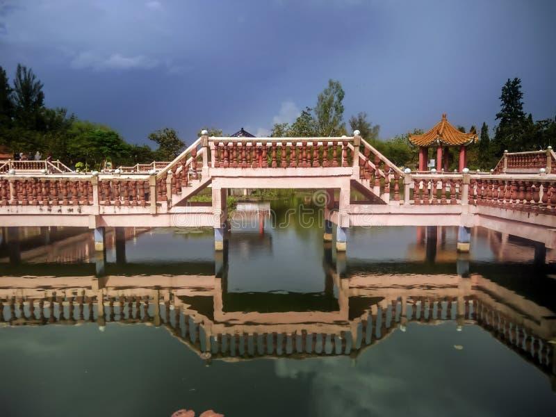 Melati湖在加央,玻璃 库存图片