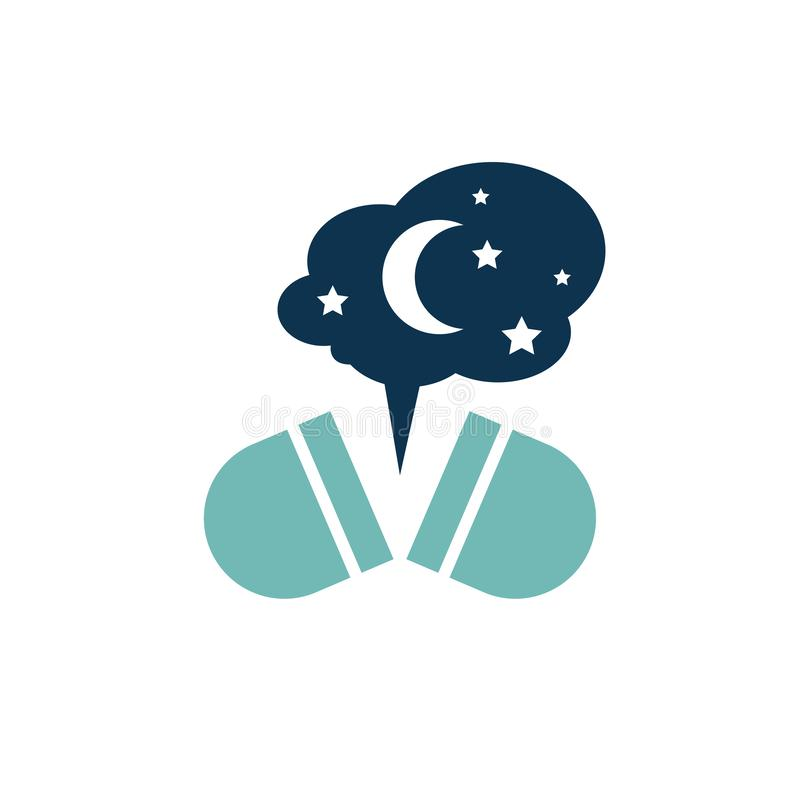 Melatonin Vector Icon. Insomnia pill icon. Sleeping problems sign. Sleeping disorder, nightmare, sleeplessness pictogram. Medical, healthcare, healthy lifestyle vector illustration