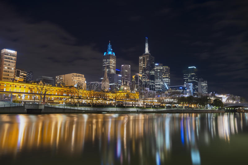 Melboune City Australia. A night view of Melbourne city Australia by night stock images