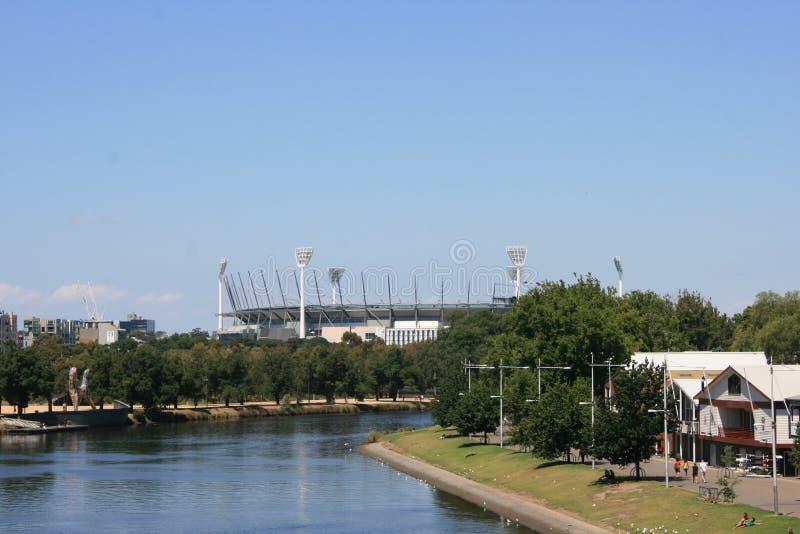 Melboune Cricket Ground from Princess Bridge stock image
