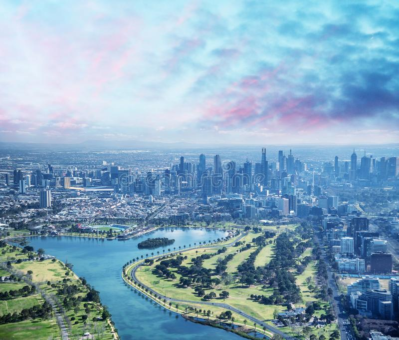 Melbourne aerial city view with Albert Park and skyscrapers. On a sunny day stock image