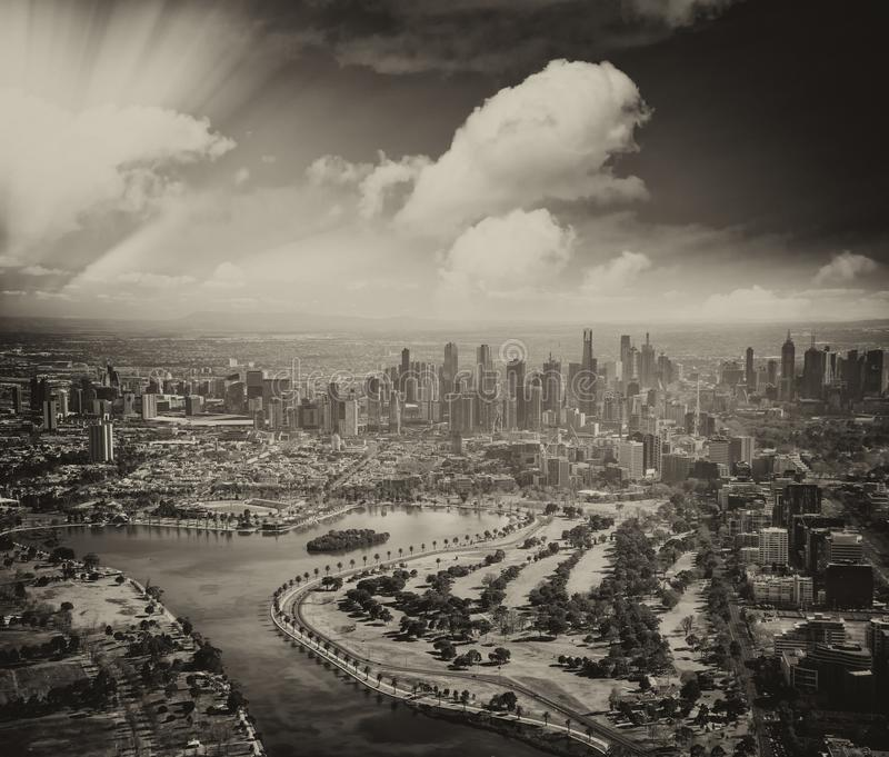 Melbourne aerial city view with Albert Park and skyscrapers. On a sunny day royalty free stock photo