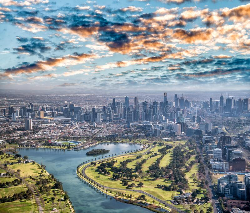 Melbourne aerial city view with Albert Park and skyscrapers. On a sunny day stock photos