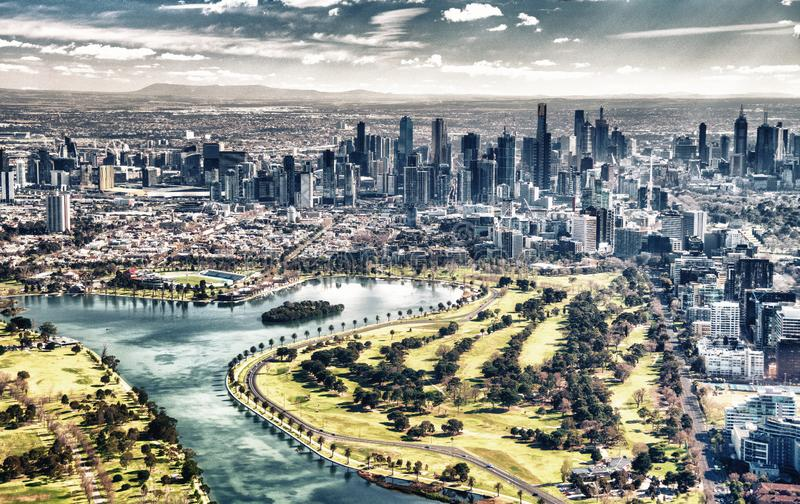 Melbourne aerial city view with Albert Park and skyscrapers. On a sunny day stock photo