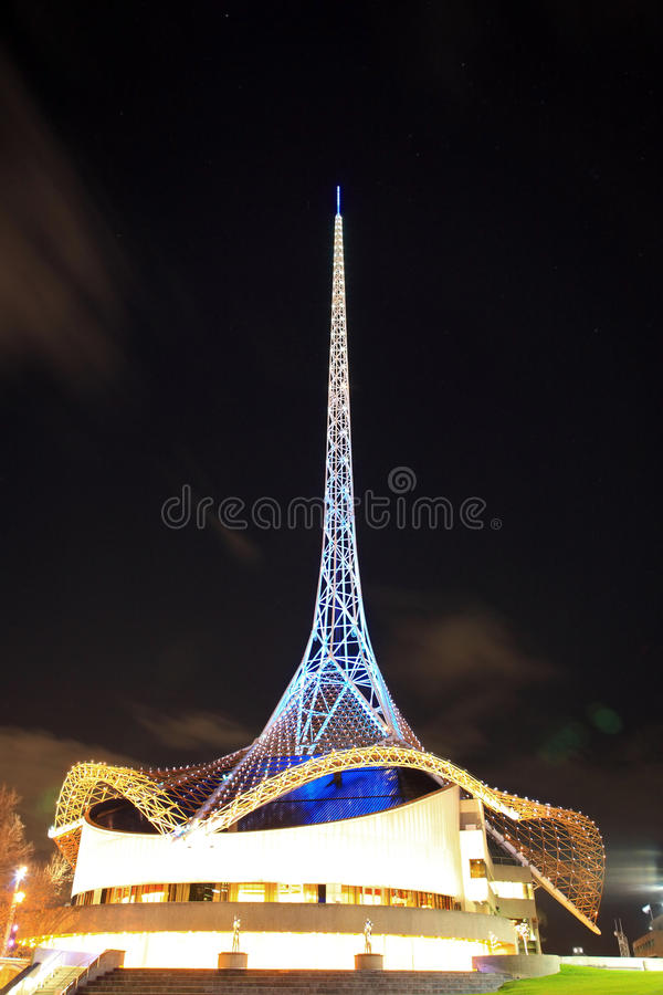 Melbourne Arts Centre at night. Melbourne Arts Centre showing tower and circular steel skirting royalty free stock image