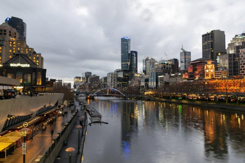 MELBOURNE, AUSTRÁLIA - 1º de setembro de 2018: A vista de Southban imagens de stock