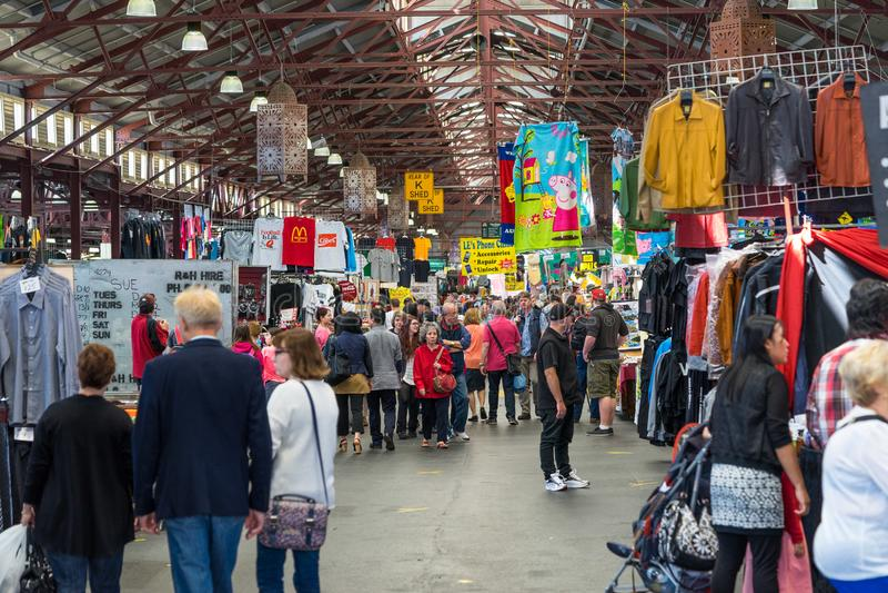 Melbourne, Austrália - ilha do mercado da rainha Victoria imagem de stock